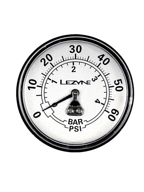 """Lezyne Manometer 2-5"""" 60PSI für alle Dirt Floor Pumpen schwarz/silber"""